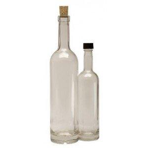 Klare høje glasflasker med sort låg